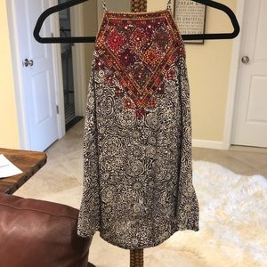 Embroidered square neck tank top